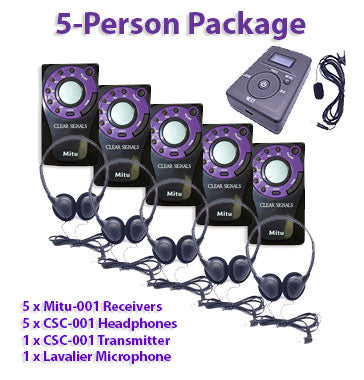 5-Person Packages include a wireless transmitter, 5 wireless receivers, 5 headsets, and 1 microphone.