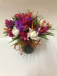 Vase of Tropical Blooms