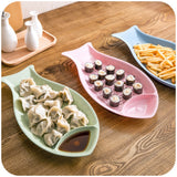 Creative Kitchen Wheat Straw Fish Shaped Dumpling Plate Dumpling Dishes With Vinegar Dish Sushi Plate Drain Pan #238287