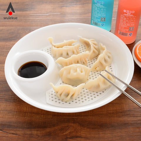 Wulekue Plastic Dumplings Dish With Sauce Creative Food Container Dinnerware Fish Pattern Home Plate High Quality Kitchen Tool