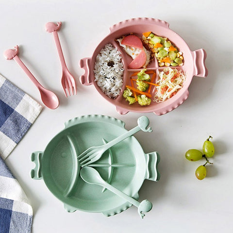 Multi Grids Fish Shape Dish Plates Kids Children Dinner Plate Spoon Fork Set Tableware Flatware Set Dinnerware Utensils