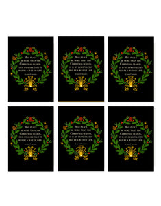 6 Card Boxed Set of Christmas Wreath (with Gold Foil Sparkles)