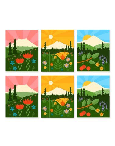 6 Card Boxed Set of Pacific Northwest Mountains