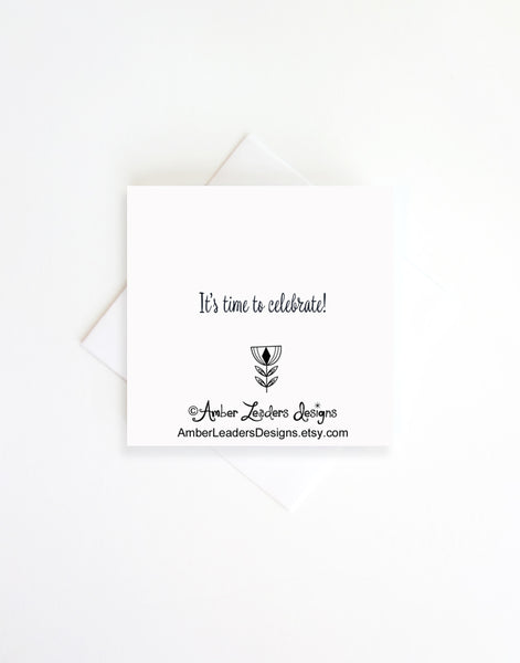 Celebration, 3x3 Blank enclosure card with envelope