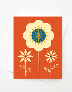 Bold Flowers Light, Blank A2 greeting card with envelope