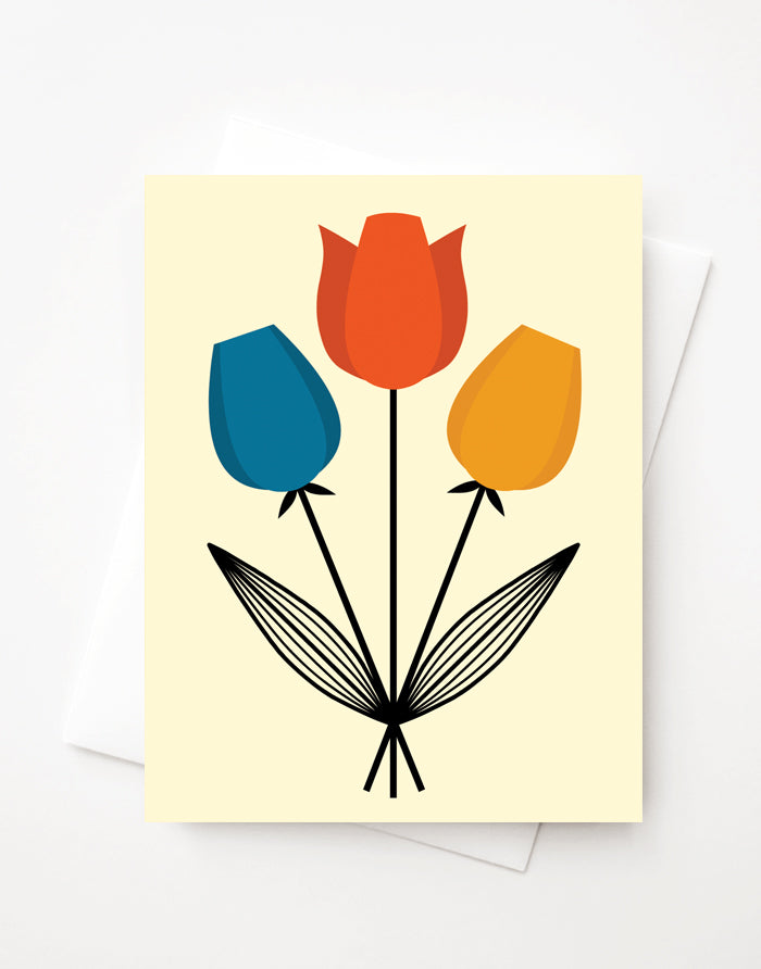Tulip Bouquet, Blank A2 greeting card with envelope