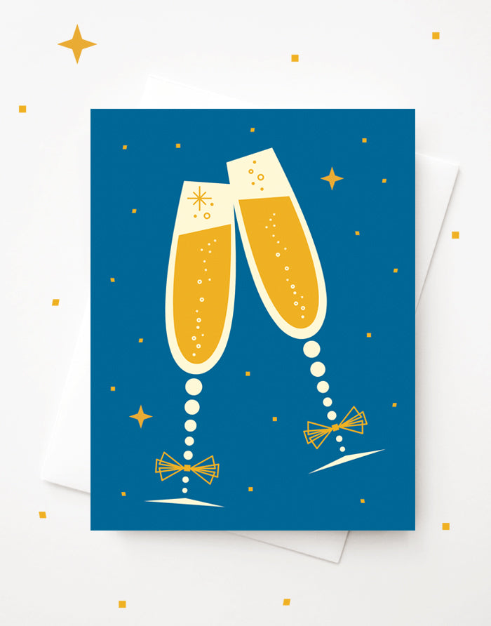 Cheers Champagne Glasses with Gold Foil, Blank A2 greeting card with envelope