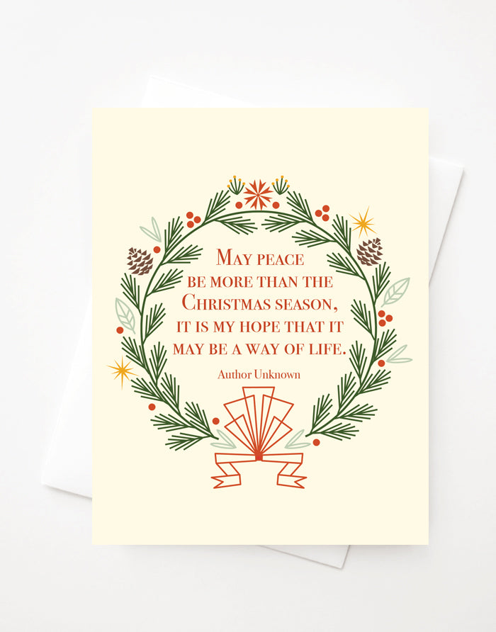 Christmas Wreath Quote, Blank A2 greeting card or Boxed Set Option