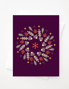 Fall Wreath, Blank A2 greeting card with envelope