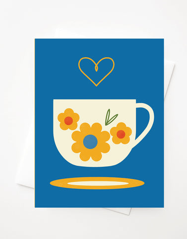 Fika Cup, Blank A2 greeting card with envelope