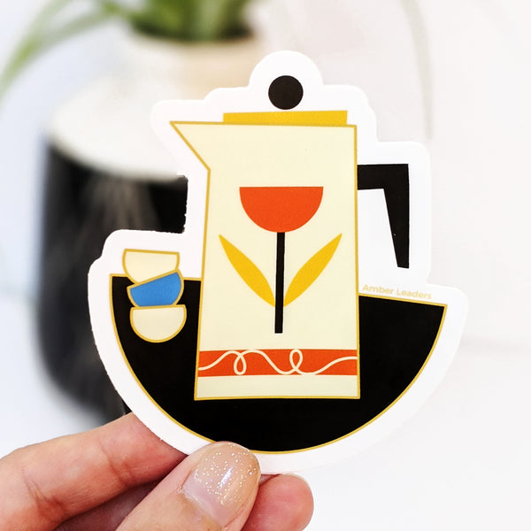 French Press with Cups Vinyl Sticker Vinyl Sticker-FREE SHIPPING