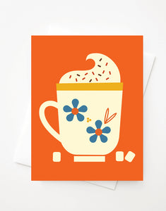 Hot Cocoa, Blank A2 greeting card with envelope