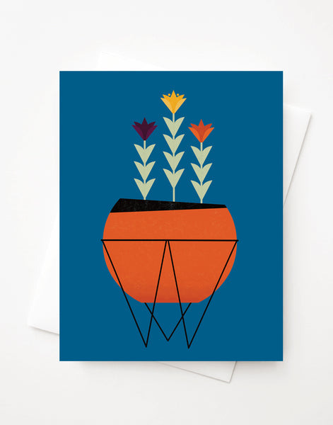 Modern Planter, Blank A2 greeting card with envelope