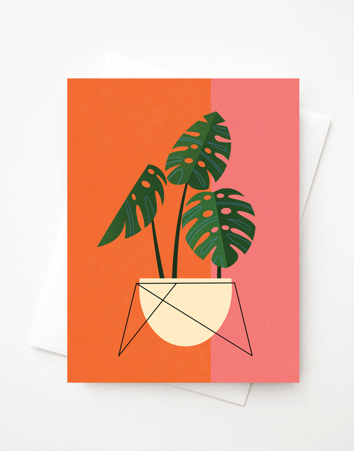 Monstera, Blank A2 greeting card with envelope
