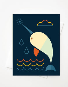 Narwhal, A2 greeting card with envelope