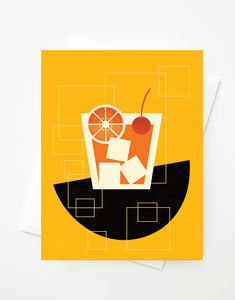 Old Fashioned, Blank A2 greeting card with envelope