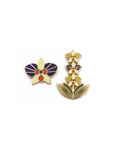 Mom's Orchid Hard Enamel Pin Set