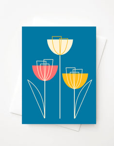 Spring Tulips, Blank A2 greeting card with envelope