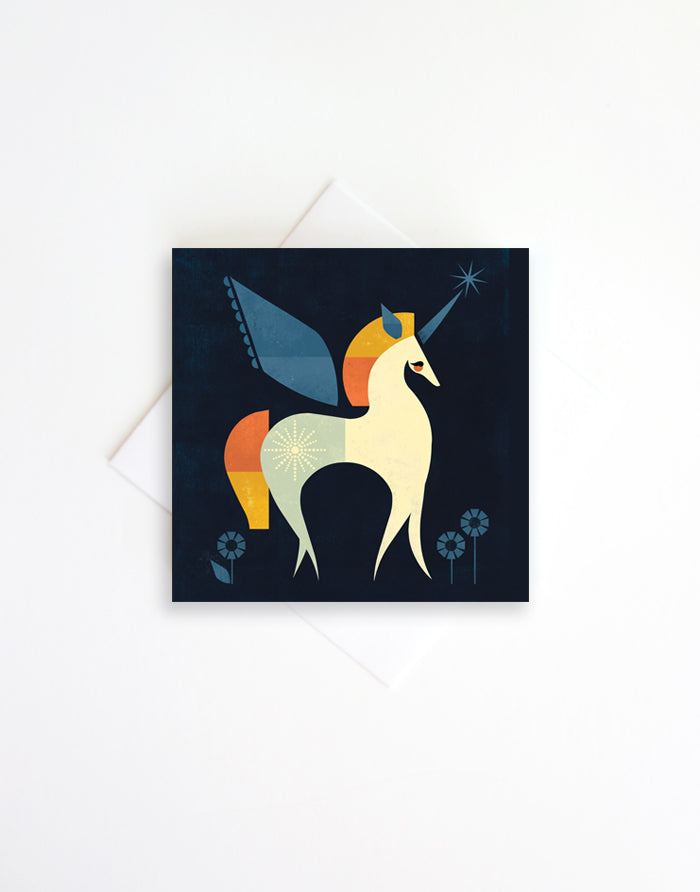 Unicorn, 3x3 Blank enclosure card with envelope