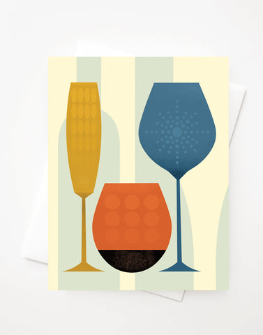 Wine (Let's make a Toast), Blank A2 greeting card with envelope