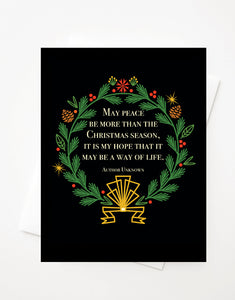 Christmas Wreath with Gold Foil, Blank A2 greeting card with envelope
