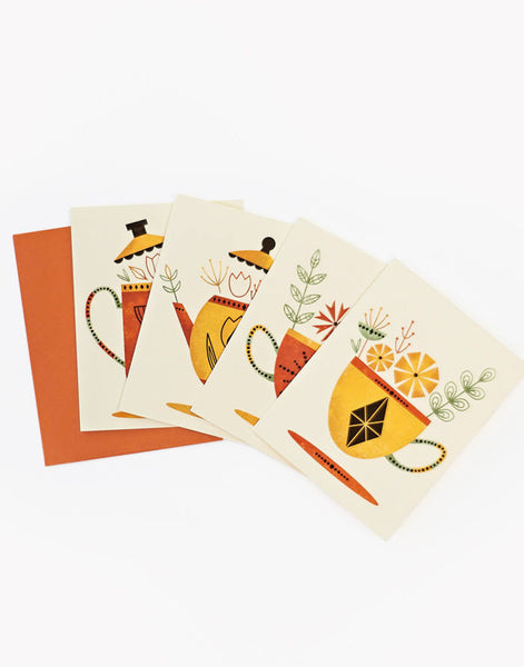 Sale Item Tea for Two Set of 4 Unique notecards