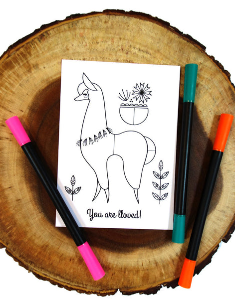 "5x7 Llama Coloring Postcard ""You are Lloved"" includes 1 sticker"
