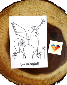 "5x7 Unicorn Coloring Postcard ""You are Magical"" includes 1 sticker"