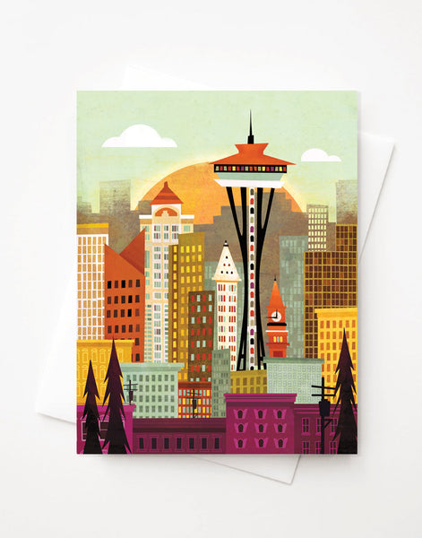 Seattle Skyline, A2 greeting card with envelope