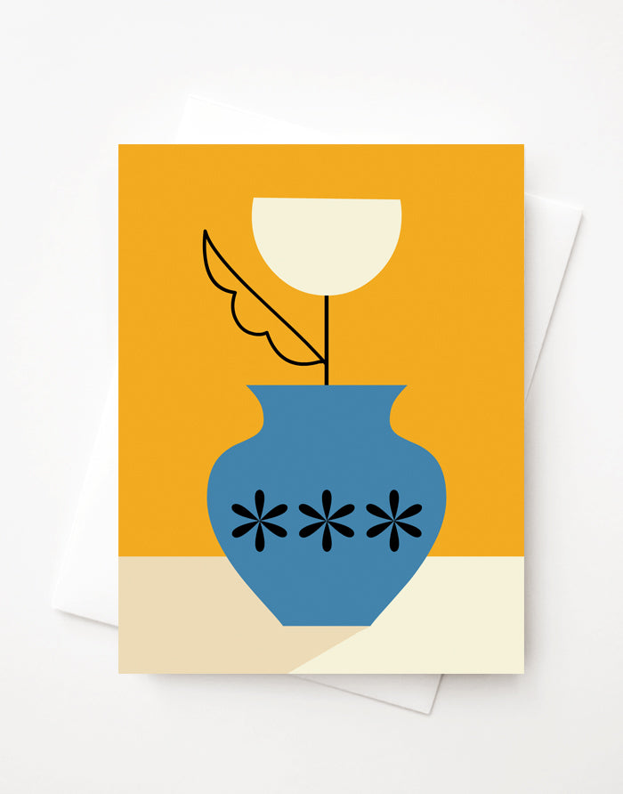 Tulip Vase, Blank A2 greeting card with envelope