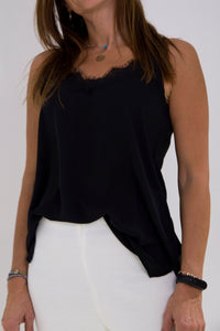 Black strap blouse with black lace collar