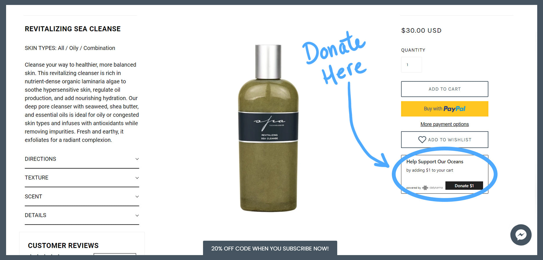 How to donate to ocean conservation organization when buying skincare