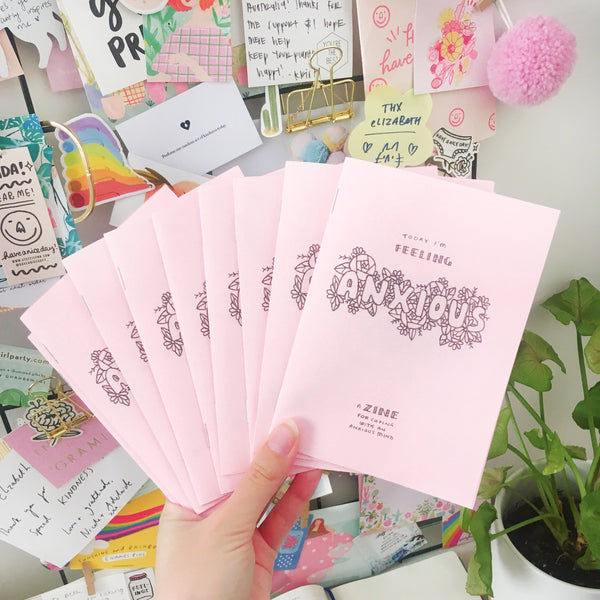 Pink handmade A6 zine about coping when you're feeling anxious, a perfect self care gift.