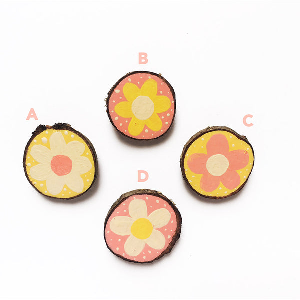 Hand-Painted Wooden Brooch - Flowers