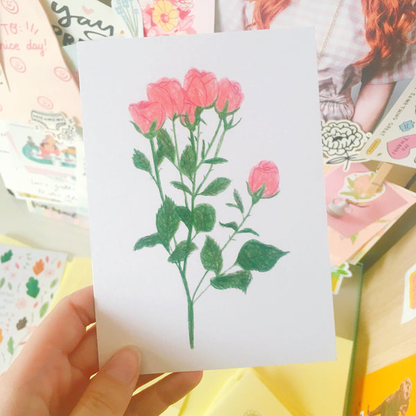 Postcard print perfect for wall art featuring an illustration of a bouquet of roses for valentines day