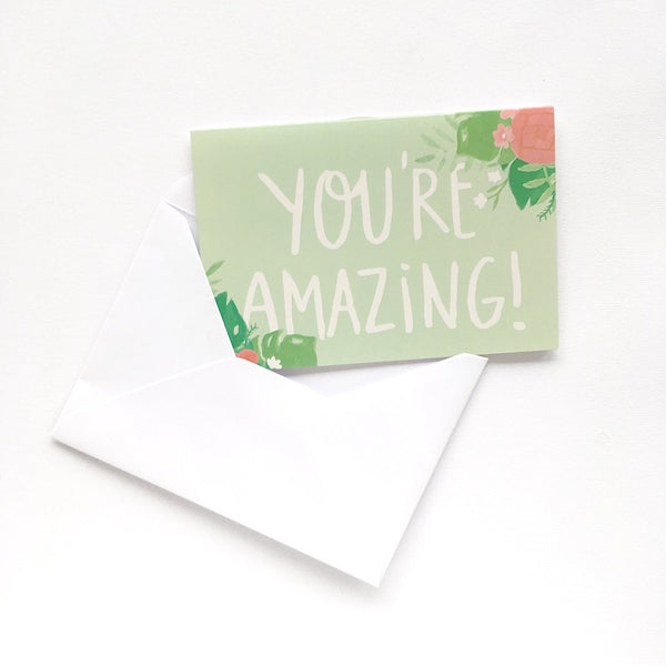 A6 floral green greeting card for all occasions