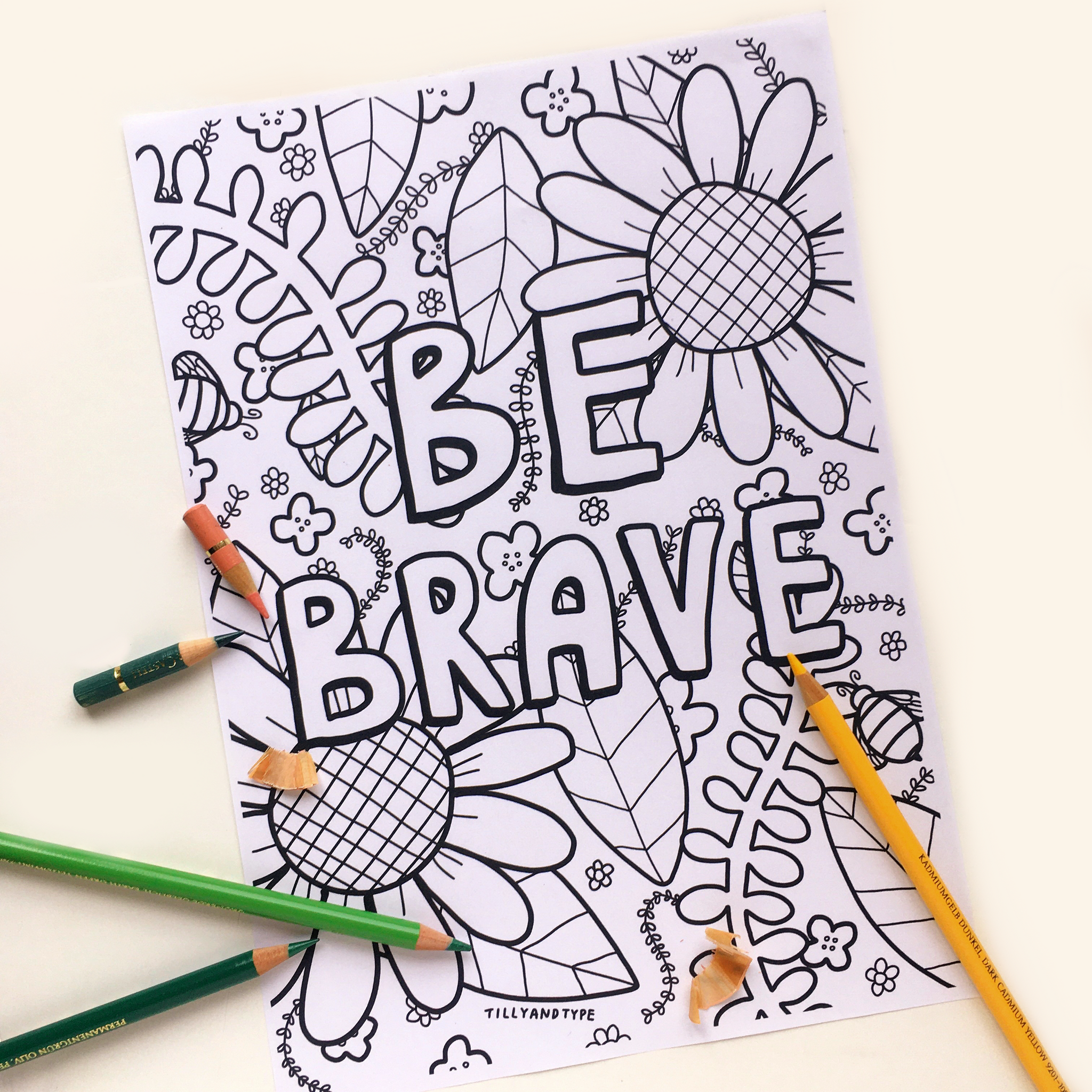 Printable Colouring Page - Be Brave