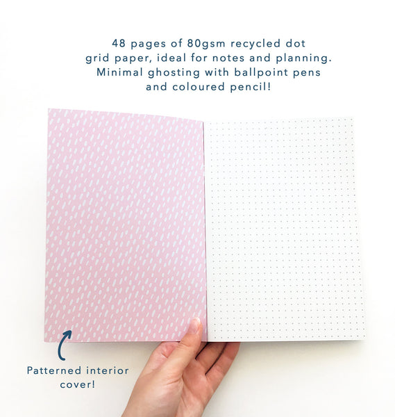 48 pages of 80gsm recycled dot grid paper, ideal for notes and planning.