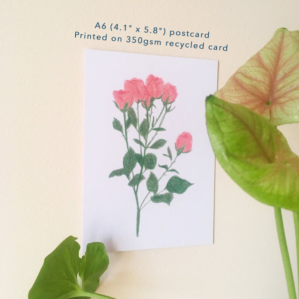 "A6 (4.1"" x 5.8"") postcard, printed on 350gsm recycled card"