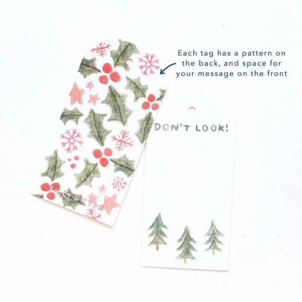 Each tag has a pattern on the back, and space for your message on the front.