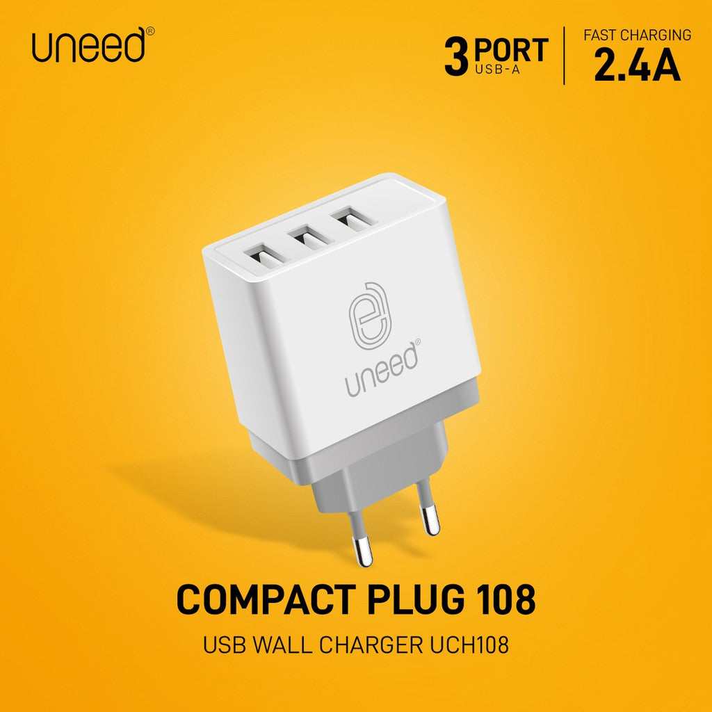 UNEED Wall Charger 3 Port USB Fast Charging 2.4A