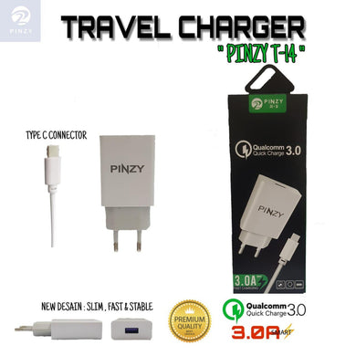 PINZY Charger T14 Support Qualcomm Quick Charge (Gratis Kabel Type C)
