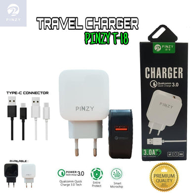 Premium Quality Charger Pinzy T-18 Qualcomm 3.0 Gratis Kabel Type C