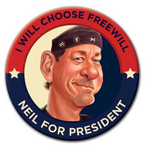 Neil Peart for President!  3-Inch Button. Official RUSH Merchandise.