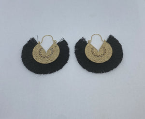 Tassel Fan Earrings (Gold Hardware)