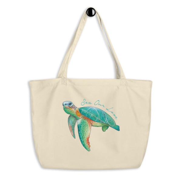 SEA OUR LOVE™ Eco Tote Bag (Large) Sea Turtle