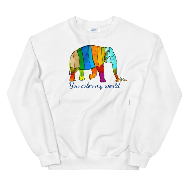 You Color My World Elephant Sweatshirt