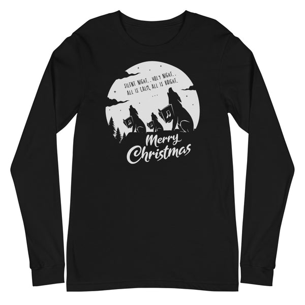 Merry Christmas Singing Wolves Long Sleeve Tee