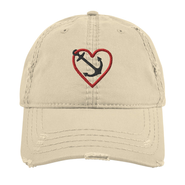 Heart & Anchor - Distressed Dad Hat