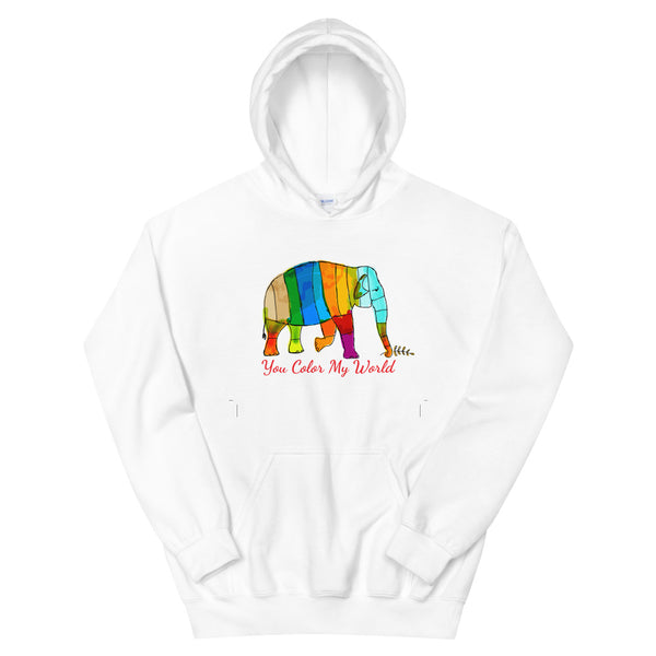 You Color My World Elephant Hoodie